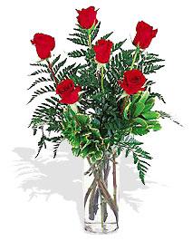 cam yada mika vazoda 6 adet kirmizi   Ankara kaliteli taze ve ucuz çiçekler