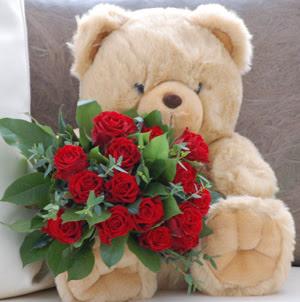 Ankara çiçek servisi , çiçekçi adresleri  9 adet kirmizi gül ve orta boy ayicik