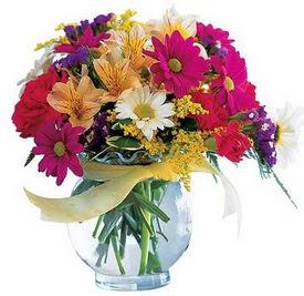 Ankara internetten çiçek satışı  cam yada mika içerisinde karisik mevsim çiçekleri