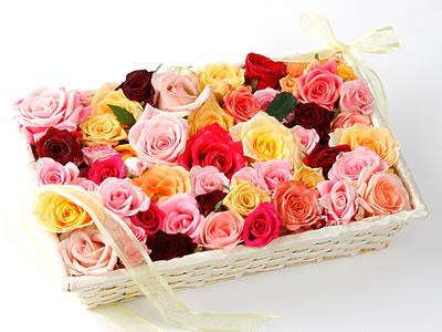 33 adet renkli gül sepet içerisinde  Ankara online çiçek gönderme sipariş