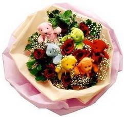 6 adet renkli ayicik ve 6adet  gül buketi  Ankara çiçekçi telefonları