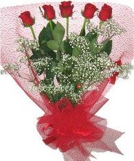 5 adet kirmizi gülden buket tanzimi  Ankara çiçek yolla