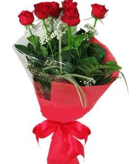 5 adet kırmızı gülden buket  Ankara kaliteli taze ve ucuz çiçekler