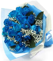 15 adet mavi gülden şahane eşsiz buket  Ankara uluslararası çiçek gönderme
