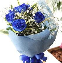 5 adet mavi gülden buket çiçeği  Ankara çiçek satışı