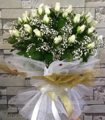 41 adet beyaz gül kız isteme buketi  Ankara çiçek satışı