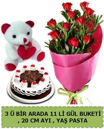 Yaşpasta ayıcık ve gül buketi herşey içinde  Ankara çiçek gönderme sitemiz güvenlidir