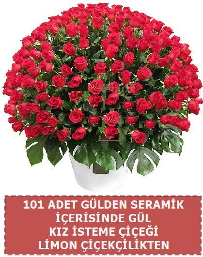 Seramik vazoda 101 gül kız isteme çiçeği  Ankara çiçek gönderme