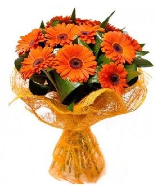11 adet turuncu gerbera buketi  Ankara çiçekçiler