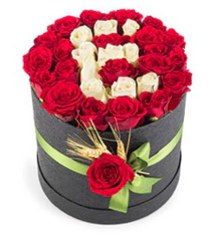 41 adet kırmızı beyaz gül harfli  Ankara çiçek yolla