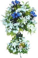 Mavi gül beyaz çiçek ferforje