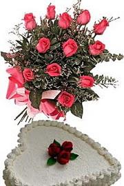 Ankara ucuz çiçek gönder  Yas pasta ve özel gül buketi