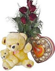 Ankara anneler günü çiçek yolla  7 gül oyuncak çikolata