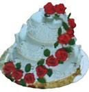 Ankara anneler günü çiçek yolla  3 katli güllerle süslü pasta