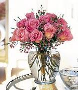Ankara internetten çiçek satışı  12 adet pembe gülerden mika yada cam vazo