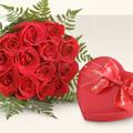 Ankara kaliteli taze ve ucuz çiçekler  10 adet gül ve kalp çikolata