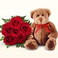Ankara online çiçek gönderme sipariş  5 gül ve orta boy ayicik