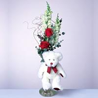 2 adet gül ve panda özel  Ankara çiçekçi mağazası