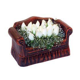 seramik içerisinde 11 gül  Ankara İnternetten çiçek siparişi