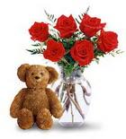 vazoda 6 adet gül ve oyuncak  Ankara çiçek yolla , çiçek gönder , çiçekçi