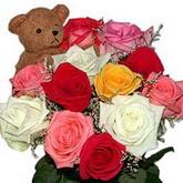 renkli güller ve ayicik   Ankara hediye sevgilime hediye çiçek