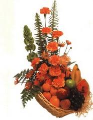 sepet kir çiçekleri meyva   Ankara çiçek gönderme