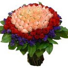 71 adet renkli gül buketi   Ankara ucuz çiçek gönder