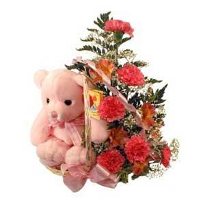 sepette karanfiller ve ayicik   Ankara çiçek , çiçekçi , çiçekçilik