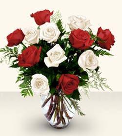 Ankara uluslararası çiçek gönderme  6 adet kirmizi 6 adet beyaz gül cam içerisinde
