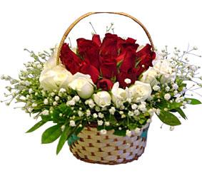 Ankara kaliteli taze ve ucuz çiçekler  Sepet içerisinde kirmizi ve beyaz güller ile hazir