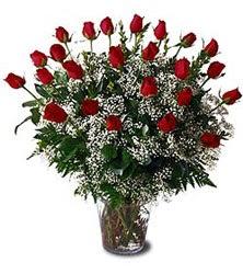 Ankara çiçek siparişi sitesi  Cam yada mika vazo içerisinde 15 adet kirmizi güller,cipsofi