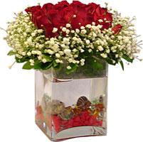 Ankara çiçekçi mağazası  9 adet kirmizi gül ve cam yada mika tanzim