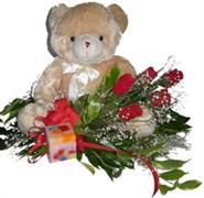 Ankara online çiçek gönderme sipariş  5 adet gül , mum ve ayicik sevdiklerinize özel