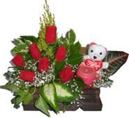 Ankara uluslararası çiçek gönderme  Sandik içerisinde 7 adet gül , mum , oyuncak pelus