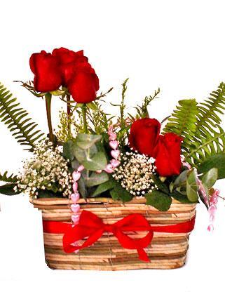 Ankara uluslararası çiçek gönderme  SEVDIM DIYENLERE Örme sepet 9 adet kirmizi gül