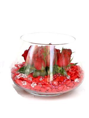 Ankara çiçekçi telefonları  9 adet kirmizi gül cam fanus içerisinde