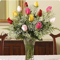 Ankara internetten çiçek siparişi  renkli gül 11 adet çiçekçi den cam yada mika vazo tanzimi