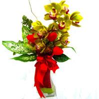Ankara uluslararası çiçek gönderme  1 adet dal orkide ve cam yada mika vazo tanzim