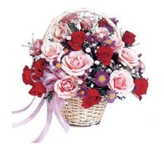 Ankara çiçekçiler  Karisik gül sepeti 13 adet gül güller