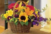Ankara çiçek , çiçekçi , çiçekçilik  Karisik mevsim çiçeklerinden sepet tanzimi