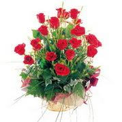 Ankara anneler günü çiçek yolla  12 adet kirmizi gülden sepet tanzimi