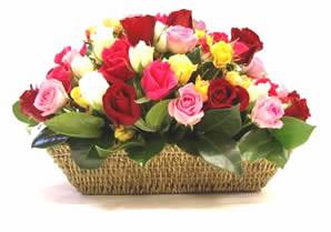 Ankara çiçekçi mağazası  karisik 15 adet gül sepet modeli