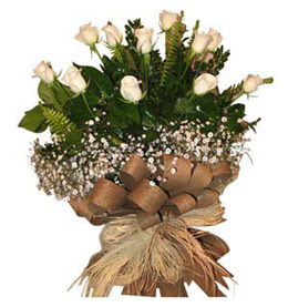 Ankara çiçekçi telefonları  9 adet beyaz gül buketi