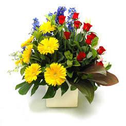Ankara online çiçek gönderme sipariş  9 adet gül ve kir çiçekleri cam yada mika vazoda