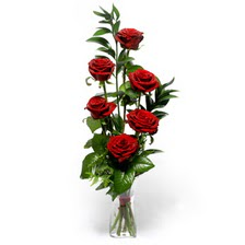Ankara uluslararası çiçek gönderme  mika yada cam vazoda 6 adet essiz gül