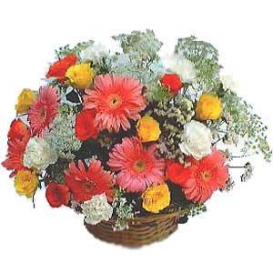 Sepet içerisinde karisik kir çiçekleri  Ankara çiçek siparişi sitesi