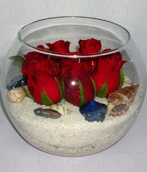 Cam fanus içeirsinde 9 adet kirmizi gül  Ankara çiçek siparişi vermek
