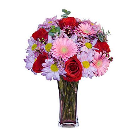 Görsel hediye karisik cam mevsim demeti  Ankara çiçekçi mağazası