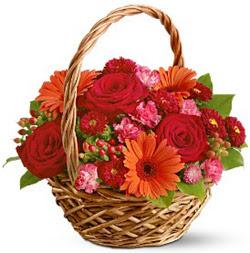 Karisik mevsim çiçeklerinden sepet tanzim  Ankara internetten çiçek satışı