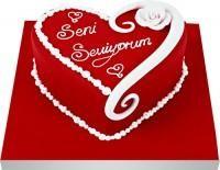 Seni seviyorum yazili kalp yas pasta  Ankara uluslararası çiçek gönderme